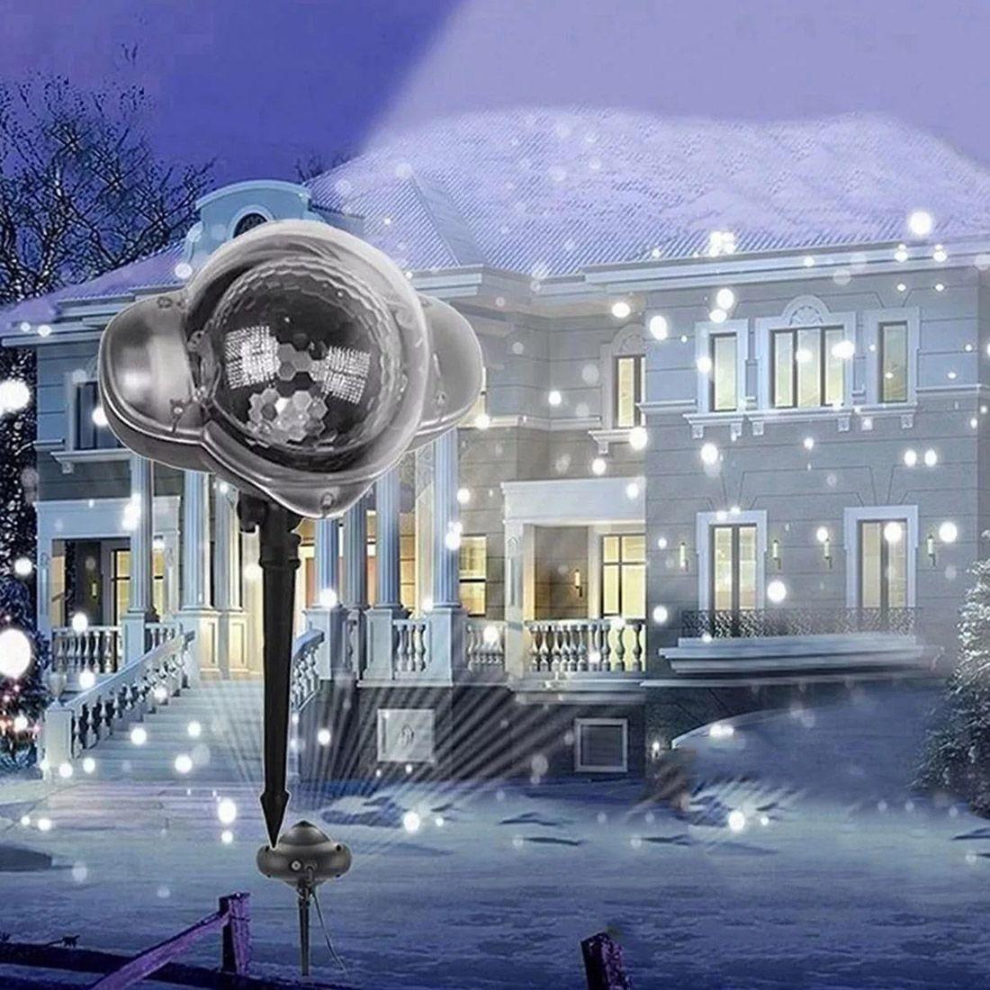 Projetor Led Cai Neve Natal Natalino Festa Casa Luz Decoracao Bivolt