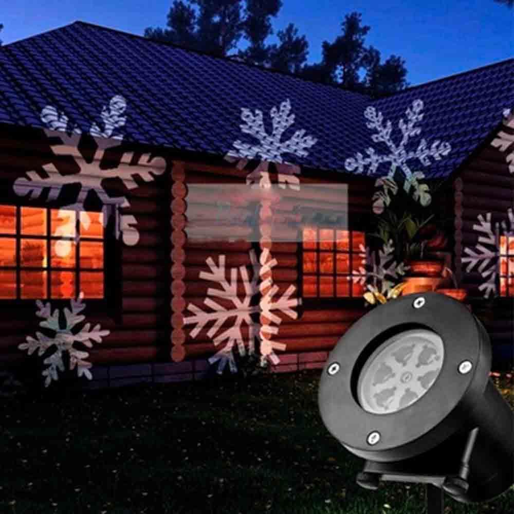 Projetor Natal LED Holografico Natalino Espeto Neve Jardim Bivolt Flocos Festas Canhao de Luz