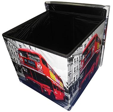 Puff Bau Porta Treco Vintage Retro Dobravel  Com Assento London (PF-9)