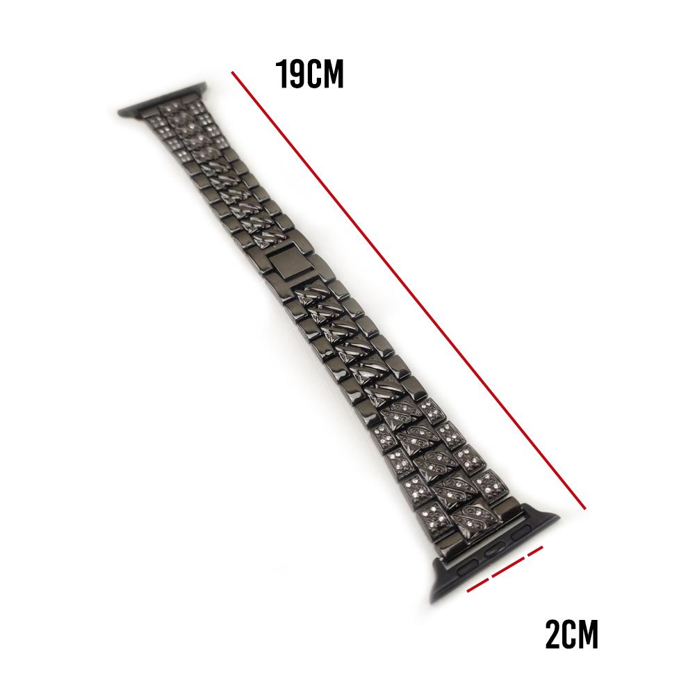 Pulseira Relogio Smartwatch Luxo Pedra Strass Smartband Aço 3 Elos