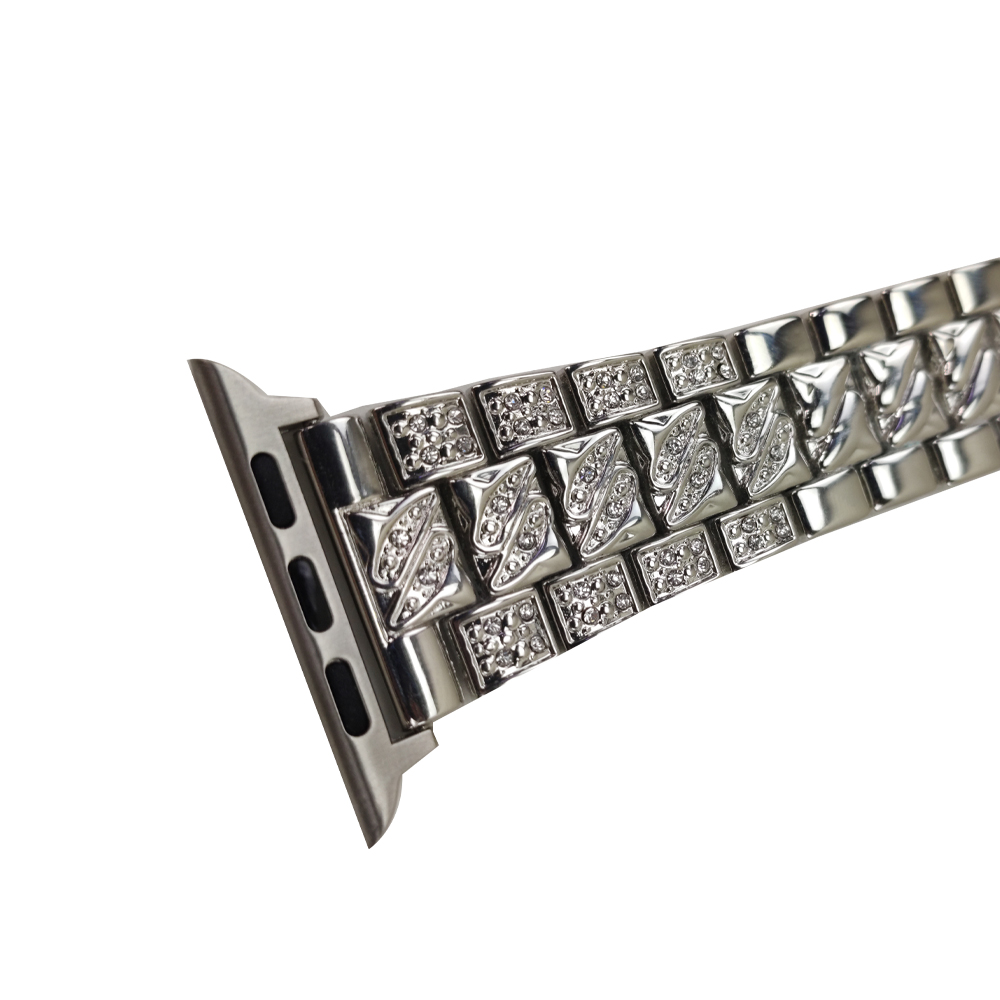 Pulseira Relogio Smartwatch Luxo Pedra Strass Smartband Aço 3 Elos inteligente