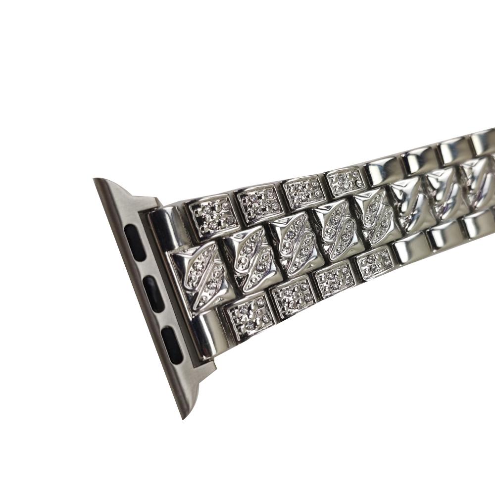 Pulseira Smartwatch Kit 2 Pulseiras Luxo Pedra Strass Smartband Aço 3 Elos inteligente