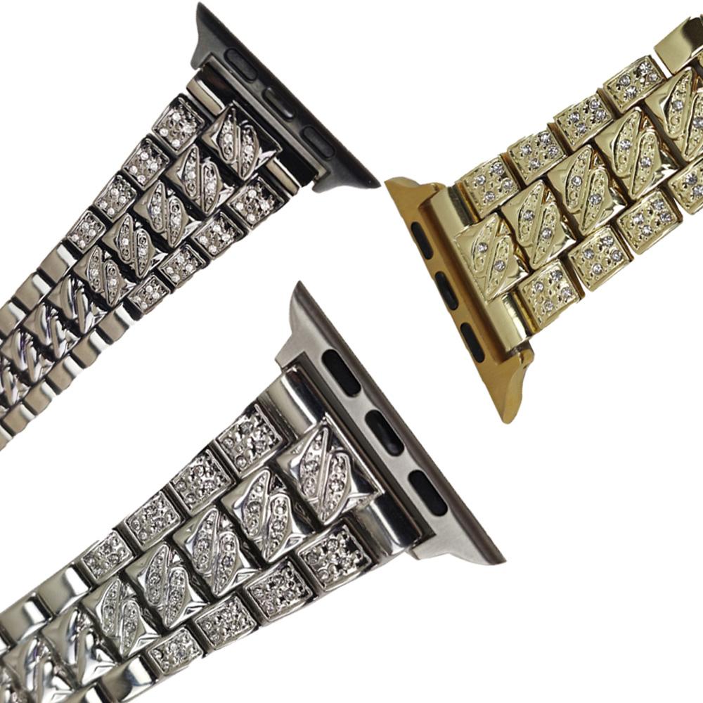 Pulseira Smartwatch Kit 3 Pulseiras Luxo Pedra Strass Smartband Aço 3 Elos Relogio inteligente