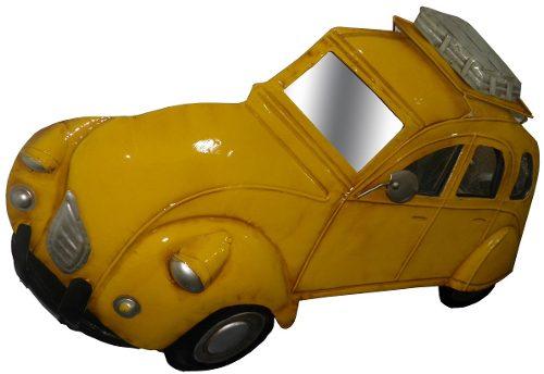Quadro Carro 3d Para Parede Em Metal Espelhado Decoracao Amarelo Vintage Retro (ENFT-6 Amarelo)