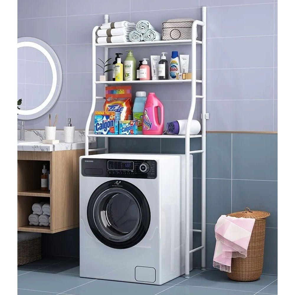 Rack Estante Lavanderia maquina de lavar Prateleira Organizador Metal Casa Organizaçao