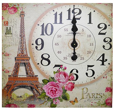 Relogio De Parede Grande Decoracao Torre Eiffel Vintage Retro (XIN-05)