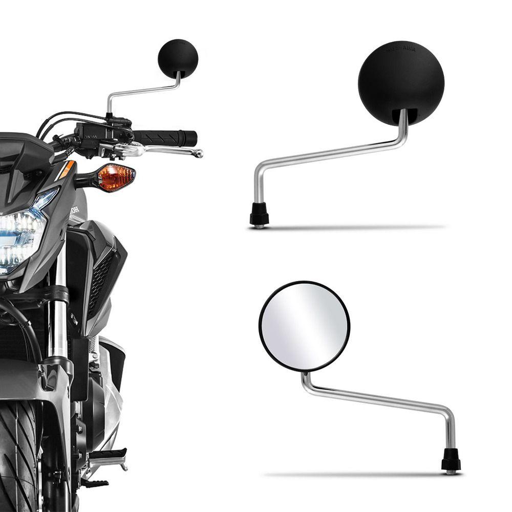 Retrovisor Moto DT 200 Haste Cromada Mini Serve em Todas Hondas Par