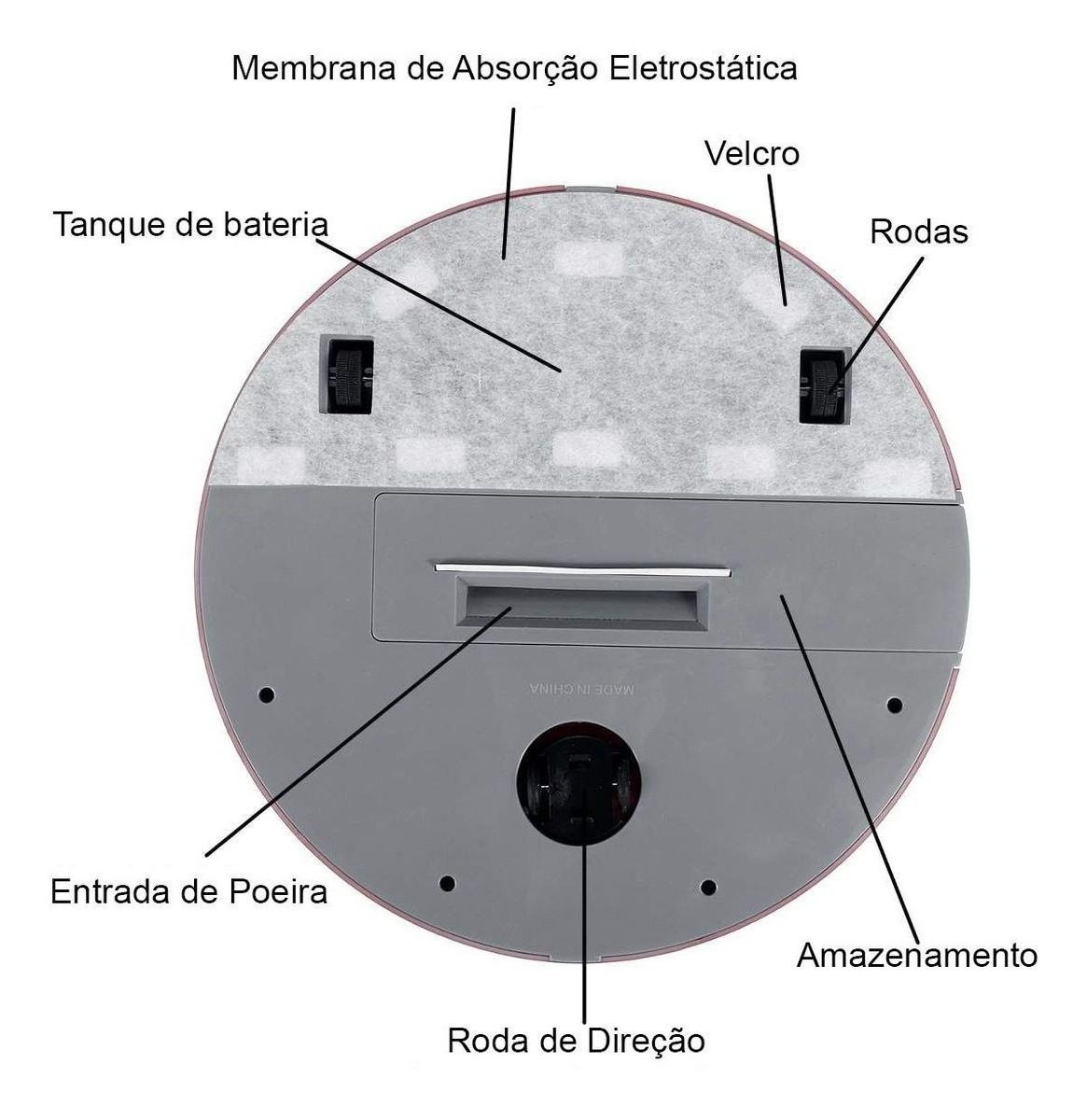 Robo Limpa Casa Aspirador de Po Varre Vassoura Recarregável Sensor Automatico