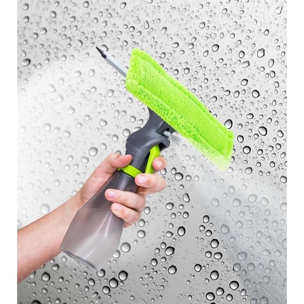 Rodo Mop Limpa Vidro Borrifador 3 em 1 Microfibra  Spray 250Ml Janelas Espelhos