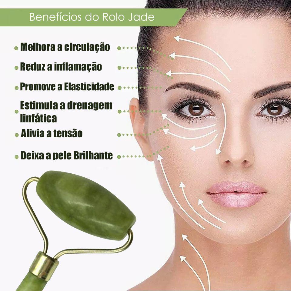 Rolo Massageador Facial Pedra Jade Anti Estresse e Anti Rugas Massoterapia
