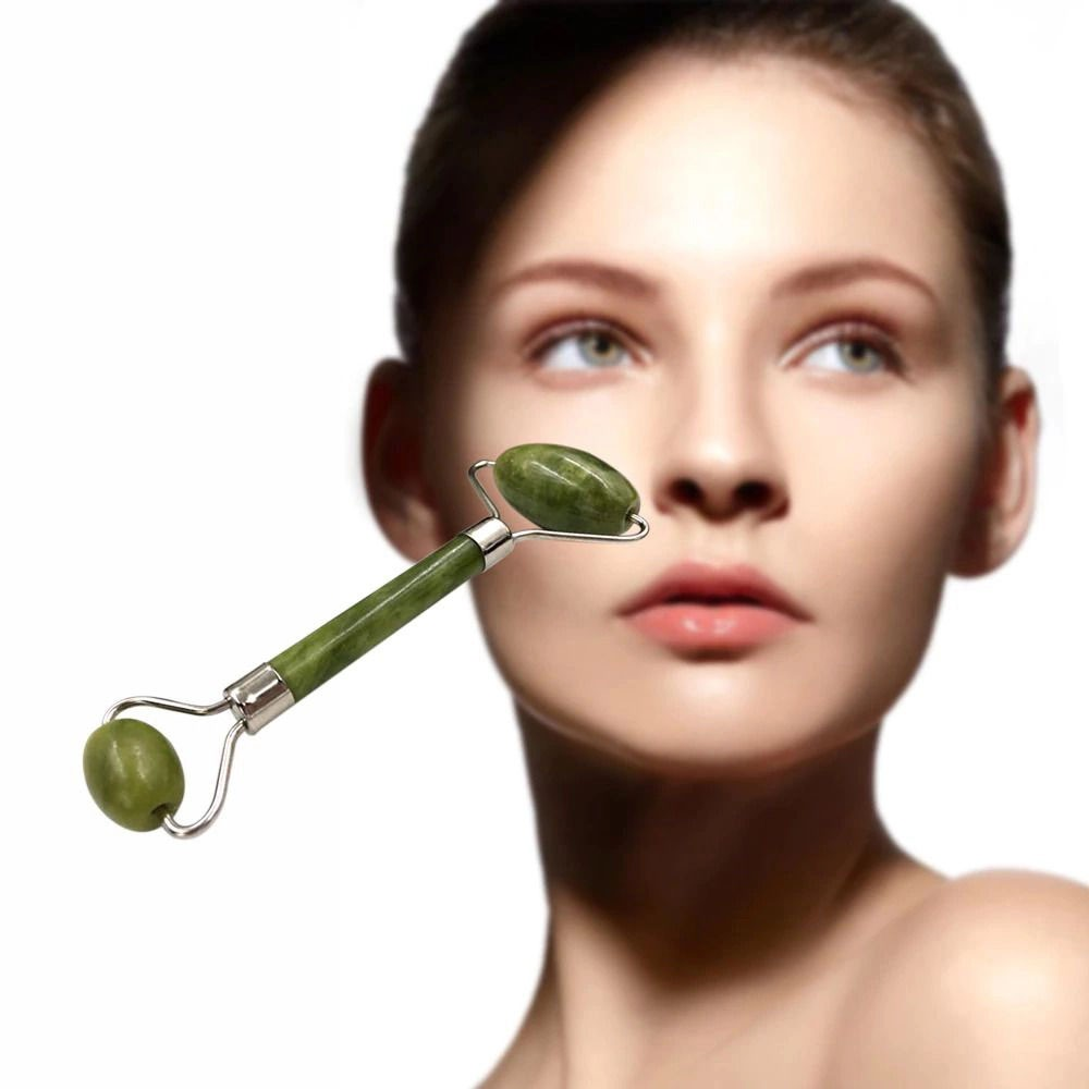 Rolo Massageador Facial Pedra Jade Anti Rugas Estresse Massoterapia