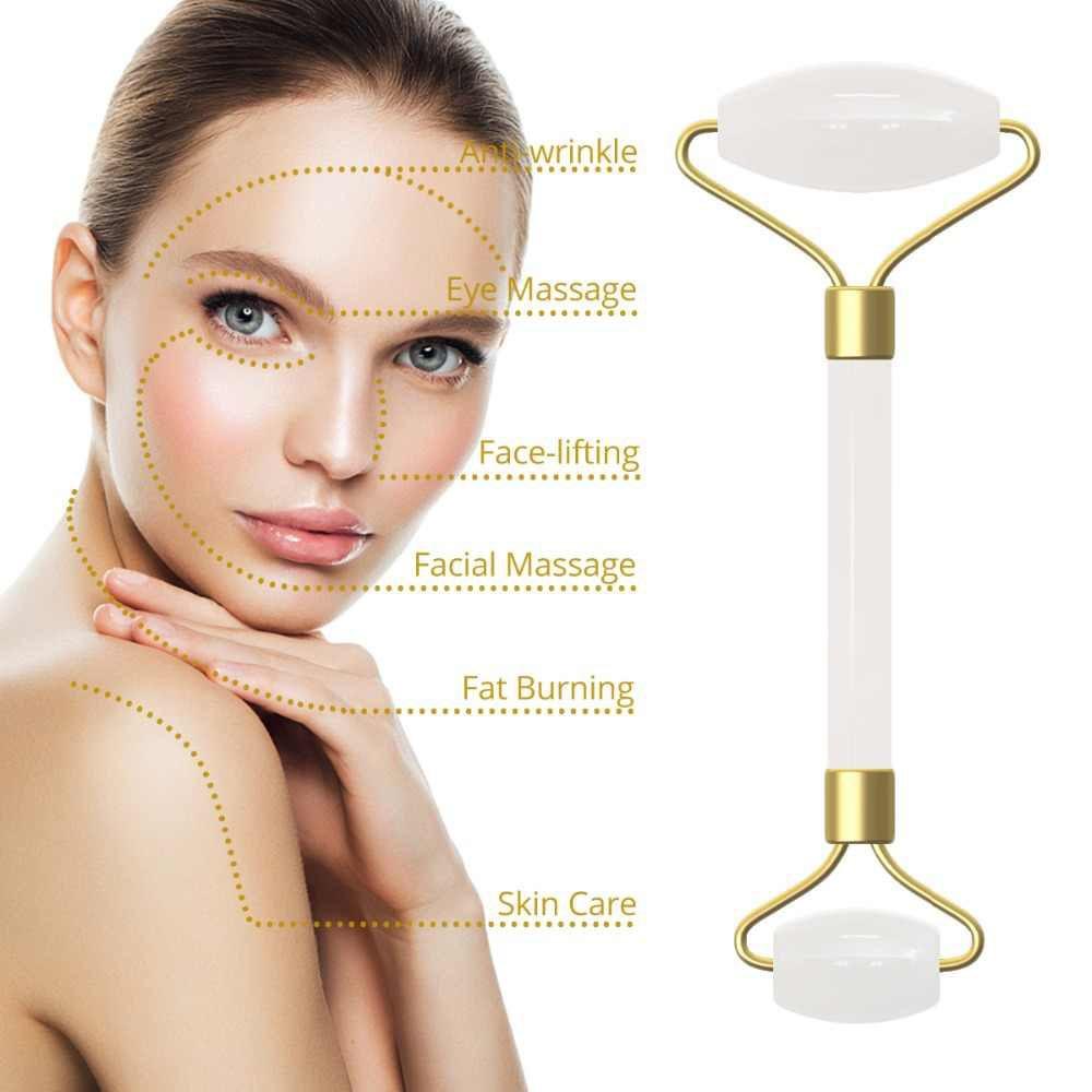 Rolo Massageador Facial Pedra Quartzo Anti Estresse e Anti Rugas Branco