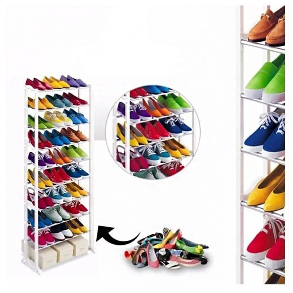 Sapateira 30 Pares 10 Andares Vertical Sapatos Casa Quarto Organizaçao Decoraçao Kit 4 Uni