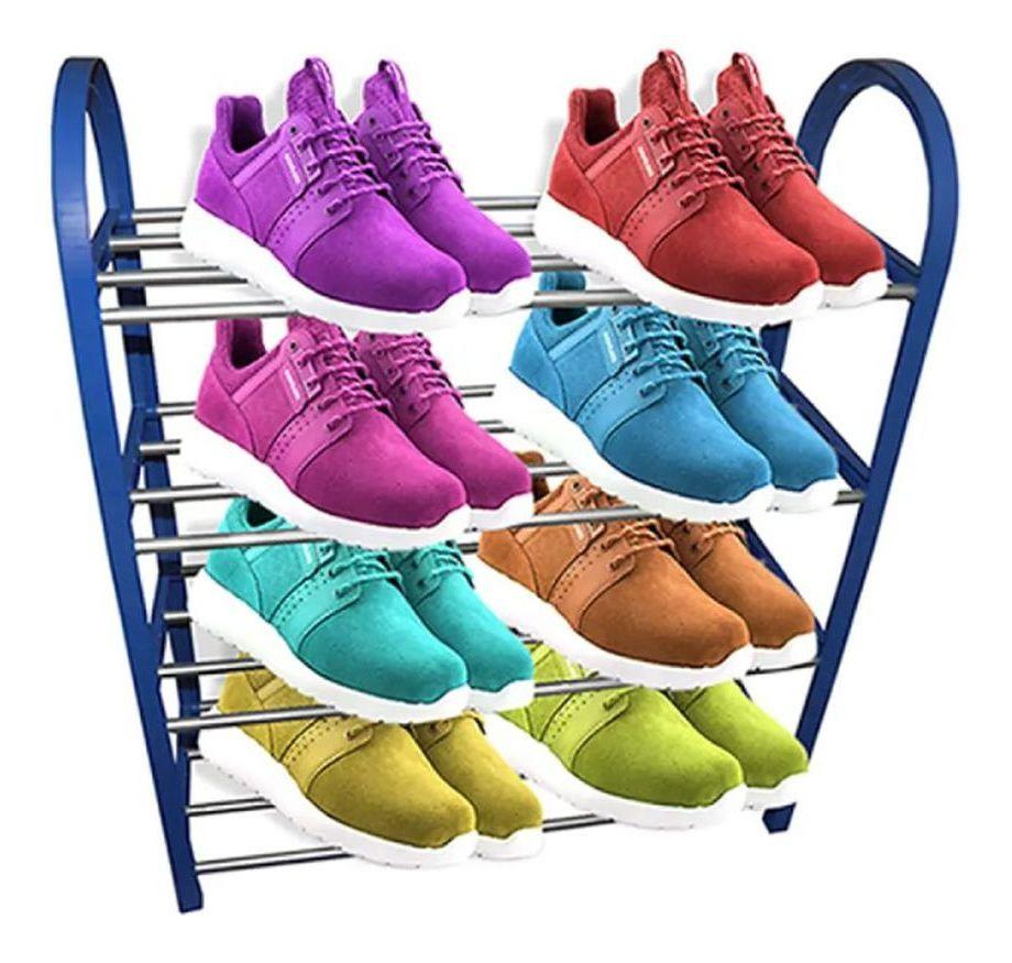 Sapateira Organizador Sapatos prateleiras 4 andares Tenis 8 Pares Desmontavel movel