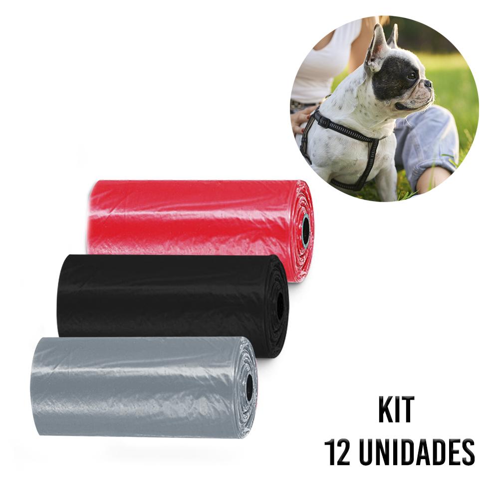 Saquinho Coletor de Fezes Coco Cachorro kit 12 rolos Cata Caca Pet Sacos Biodegradavel Passeios Parque Rua