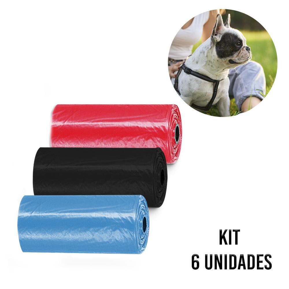 Saquinho Coletor de Fezes Coco Cachorro kit 6 rolos Cata Caca Pet Sacos Biodegradavel Passeios Parque Rua