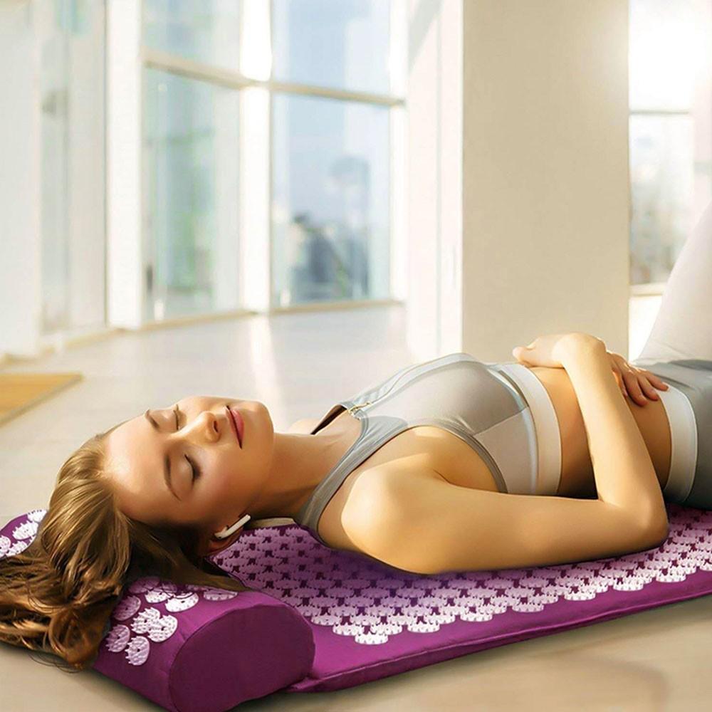 Tapete de Acupressao Acupuntura Travesseiro Esteira Massagem Alivia Dores Costas Pescoço Saude Relaxamento