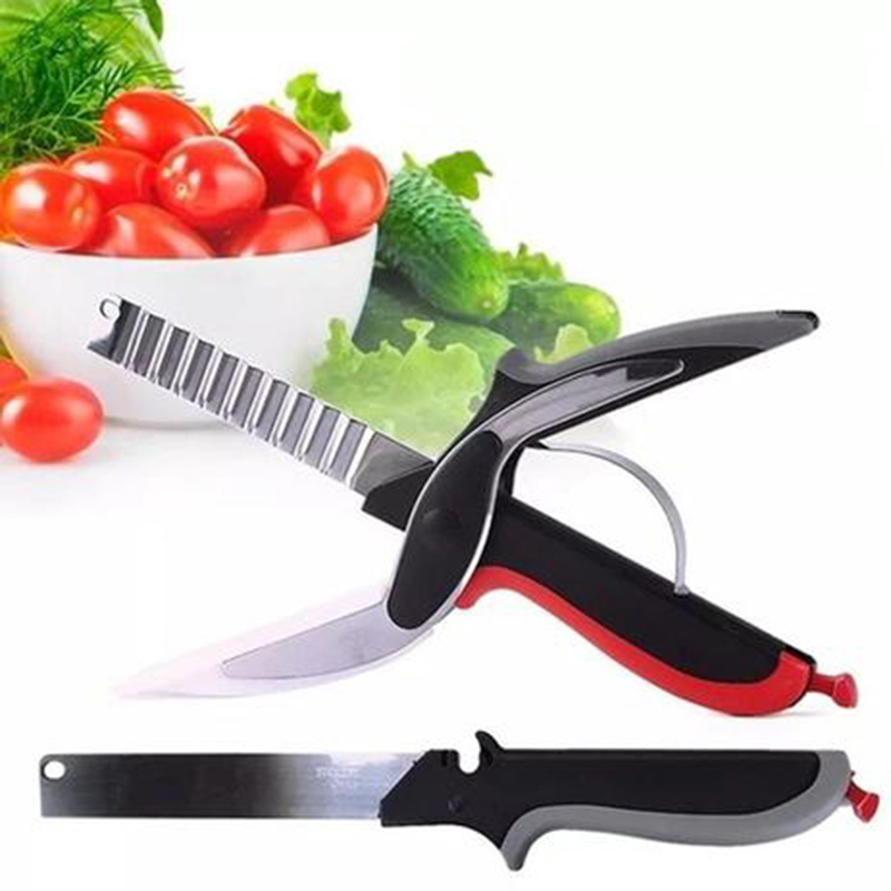 tesoura cortar legumes verduras tabua de corte picar fatiar 2 em 1 frutas clever cutter