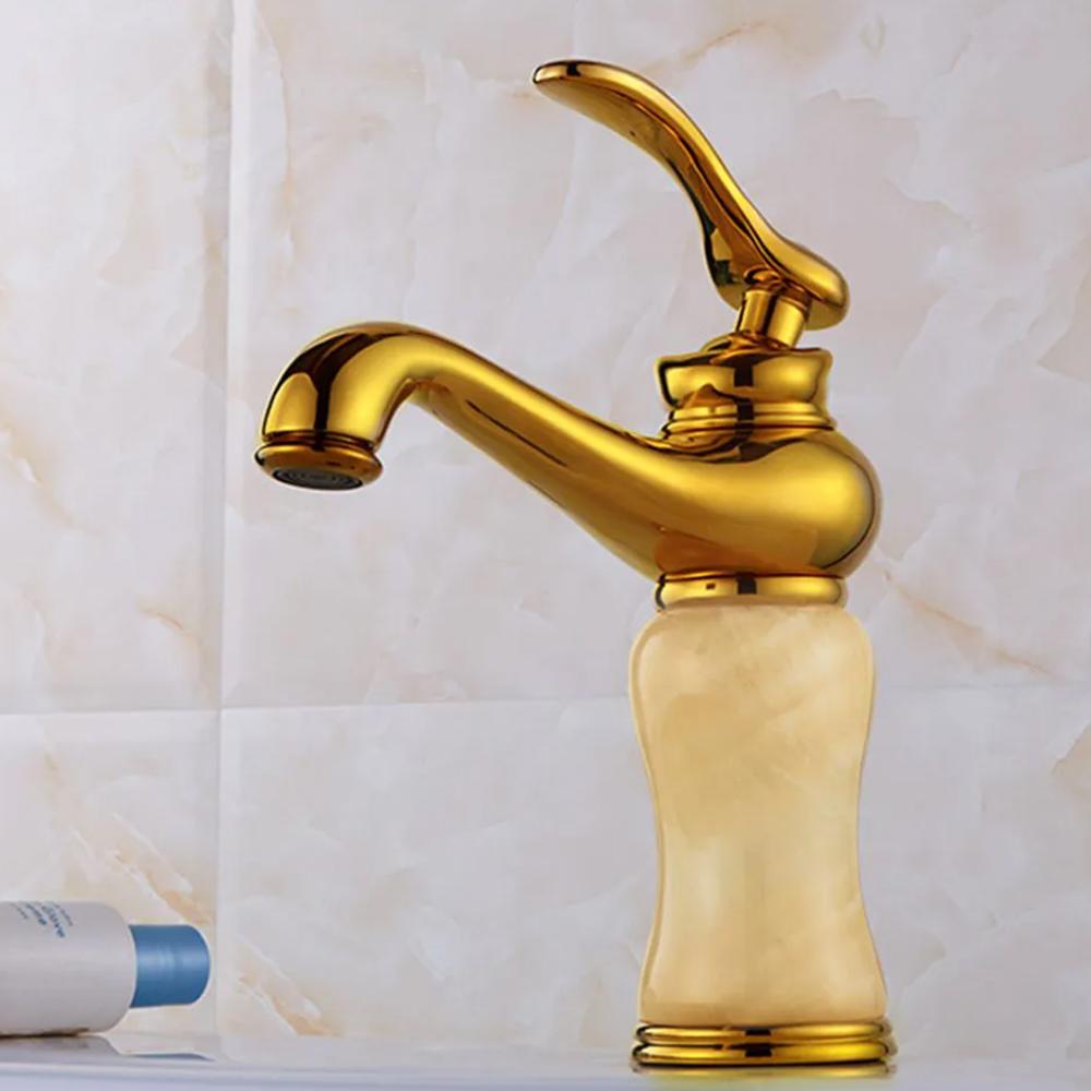 Torneira Vintage Bancada Dourada Luxo Monocomando Marmore Agua Fria Quente