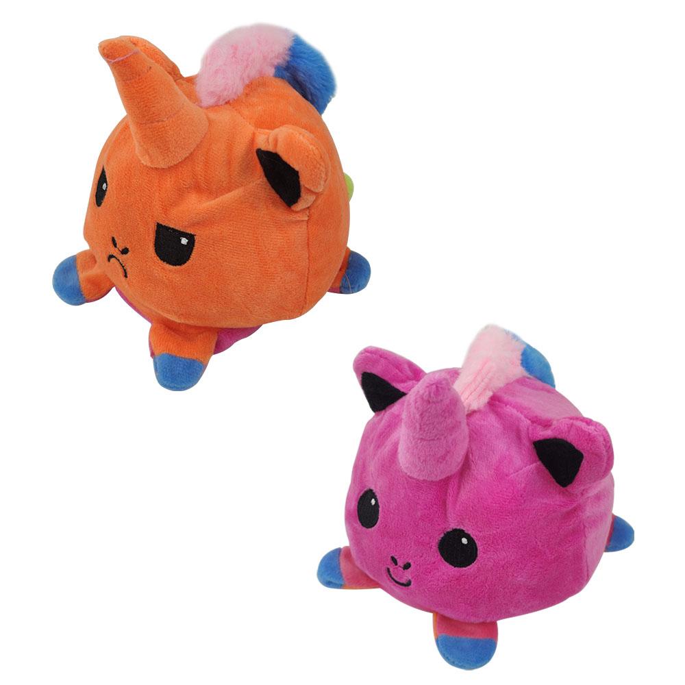 Unicórnio do Humor Feliz e Bravo Almofada de Brinquedo Pelúcia Reversível Crianças Polvo