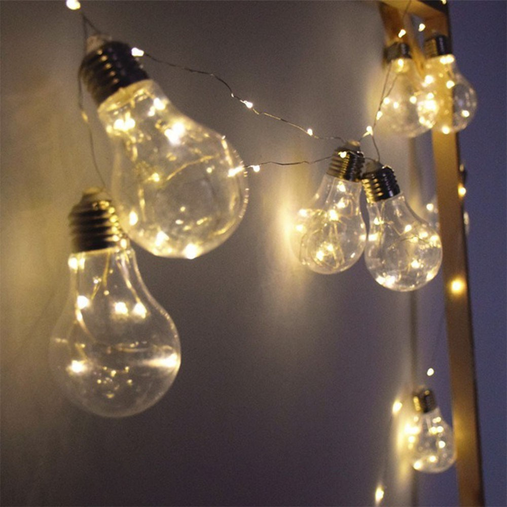 Varal Luminaria 10 lampadas led branco Arame quente decoracao interna externa casamento festas eventos Cortina