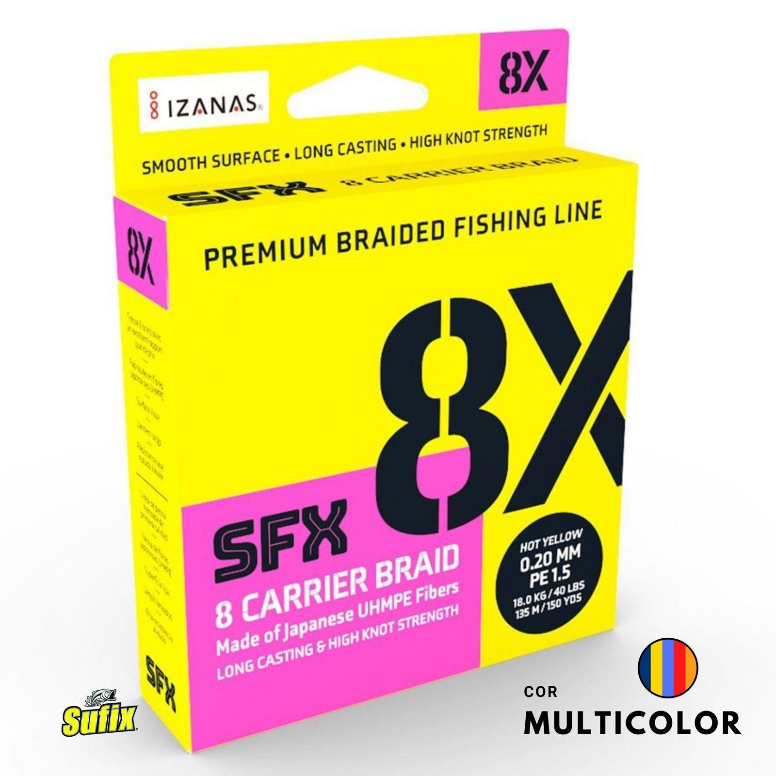 Linha Multifilamento SUFIX SFX 8 CARRIER BRAID 0,18mm - 28lbs - 270 Metros - Multicolor