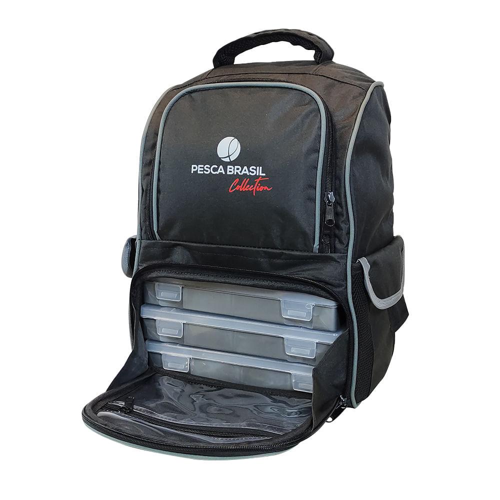 Mochila Pesca Brasil Fishing Bag com 3 estojos incorporados