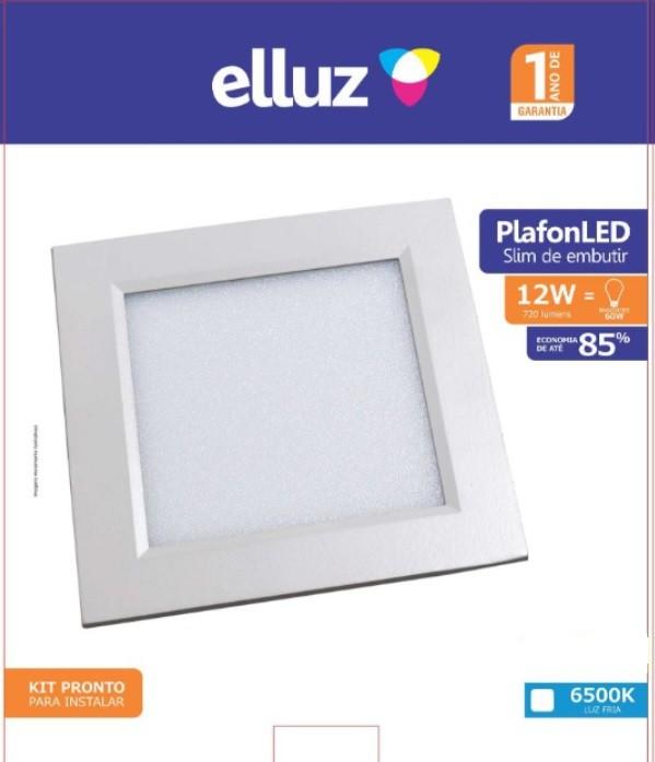 ELLUZ PLAFON LED EMBUTIR QUADRADO 12W 6500K 840LM BRANCO
