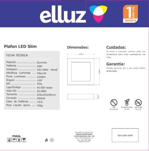 ELLUZ PLAFON LED EMBUTIR QUADRADO 18W 6500K 1300LM BRANCO