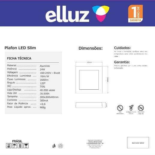 ELLUZ PLAFON LED EMBUTIR QUADRADO 24W 6500K 1800LM BRANCO