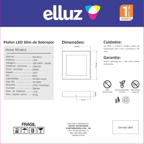 ELLUZ PLAFON LED SOBREPOR QUADRADO 12W 6500K 840LM BRANCO