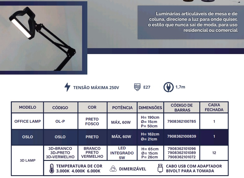 GMH LUMINÁRIA DE MESA 3D LAMP PRETO COM LED INTEGRADO
