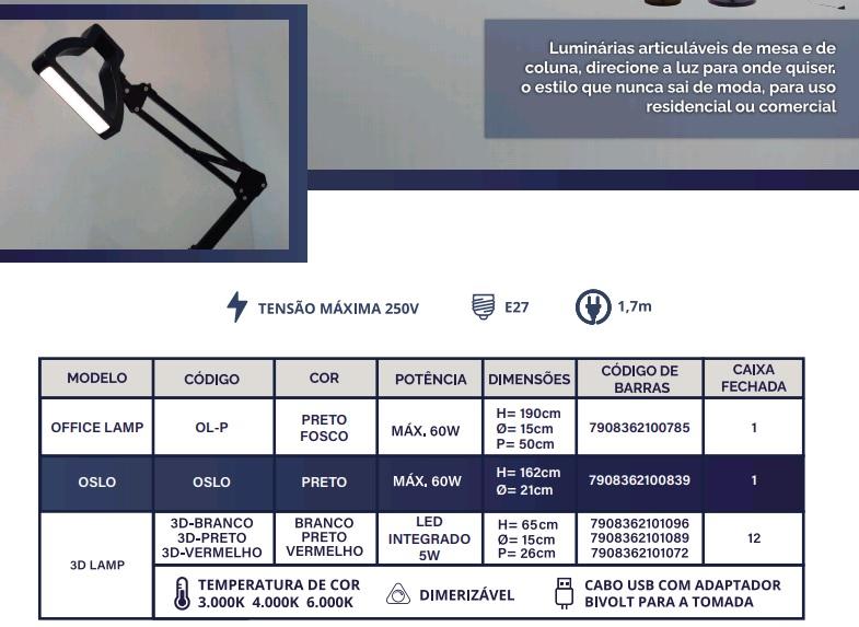 GMH LUMINÁRIA DE MESA 3D LAMP VERMELHO COM LED INTEGRADO