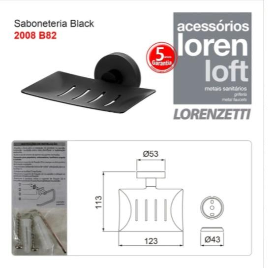 Saboneteira Loren Loft Black 2008 B82 Lorenzetti