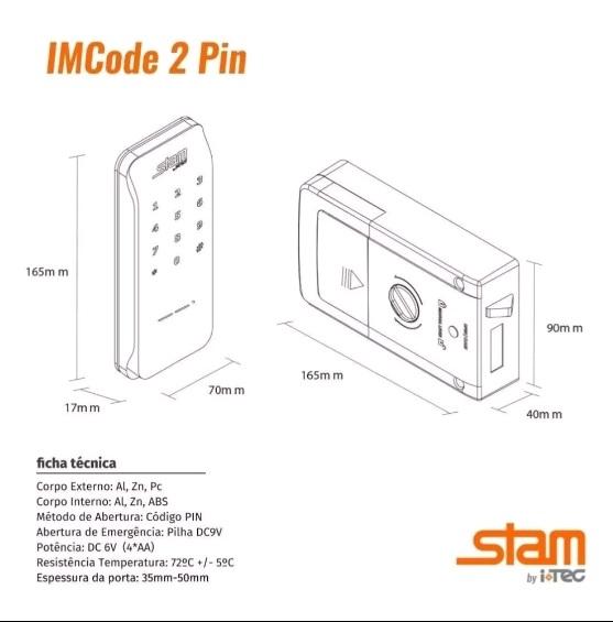 STAM FECHADURA ELETRÔNICA DIGITAL DE SOBREPOR - IMCODE2PIN