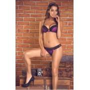 Conjunto Lingerie Del Laras Púrpura Com Preto 02375