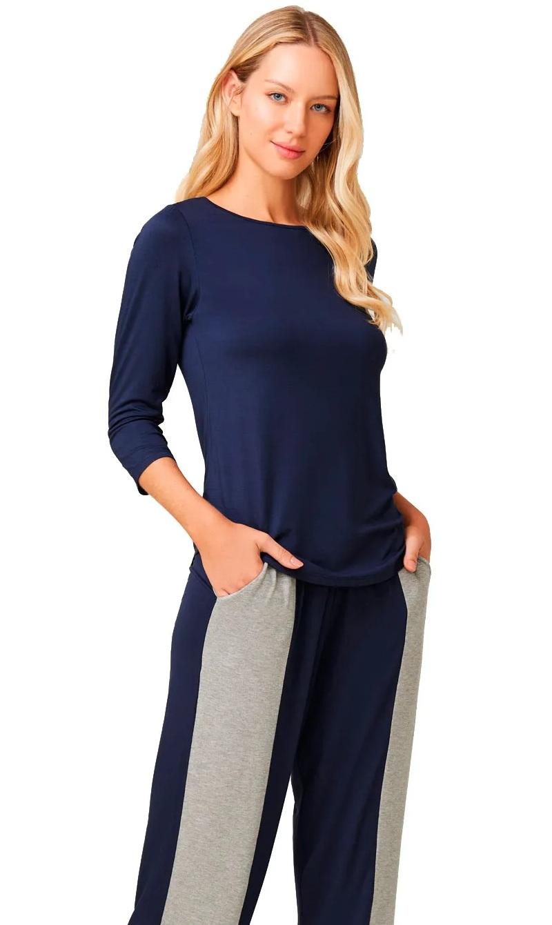 Pijama De Viscose Stretch Azul Monet Recco 14708