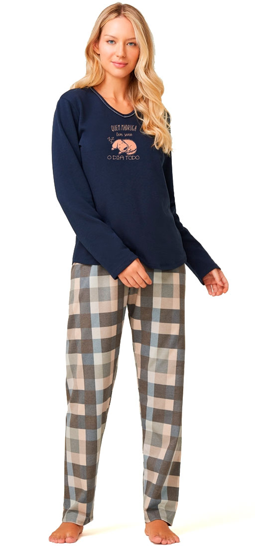 Pijama Recco De Moletinho Flanelado 14729a