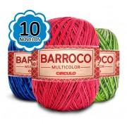 Kit 10 Barbante Barroco Multicolor 200g cores variadas