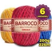 Kit 6 Barbante Barroco Multicolor 400g cores variadas