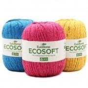 kit 3 barbante euroroma ecosoft 400g cores variadas