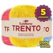 Kit 5 Novelos Barbante Euroroma Trento 200g Cores Variadas