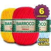 Kit 6 Unidades Barbante Barroco Maxcolor 400g Nº6 Cores Variadas