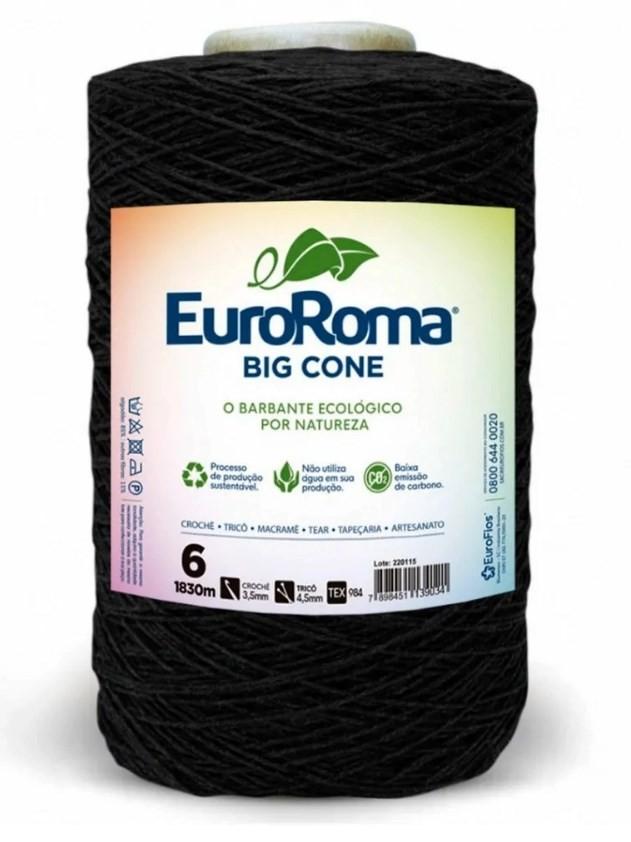 KIT 3 Barbante nº6 1,8kg EuroRoma Preto