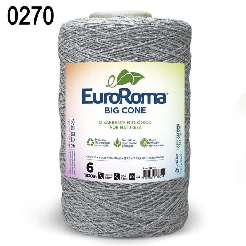 Barbante Euroroma 1.8kg N°6 Kit 3 Unidades CINZA