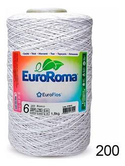 Barbante Euroroma 1.8kg N°8 Kit 3 Unidades cor Branco