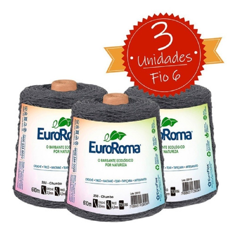 Barbante Euroroma 600g - Nº 6 - KIT 3 UNIDADES COR CHUMBO