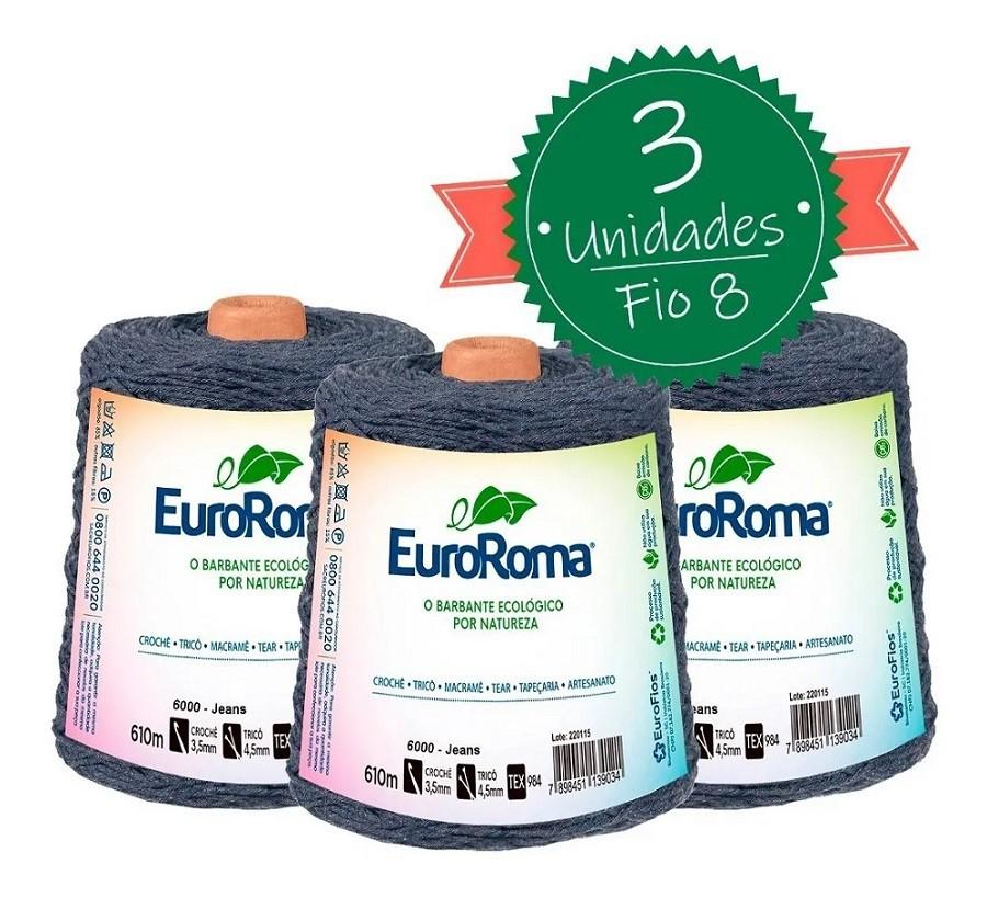 Barbante Euroroma 600g - Nº 6 - Kit 3 Unidades cor Jeans