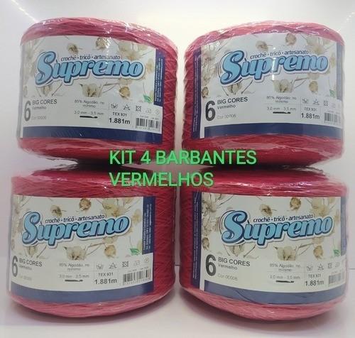 Barbante Supremo N6 1,8kg Kit 4 Unidades Cor Vermelho