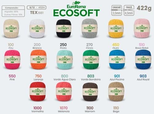 Kit 12 Unidades Barbante Ecosoft 400g Nº6 Cores Variadas